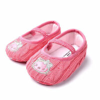New HELLO KITTY Soft Sole Baby Girls PEACH Knitted Crib Shoes. Age 0-18 Months