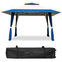 13'x13' Folding Gazebo camping Beach Canopy Shelter Tent W/Carry Bag Blue Patio
