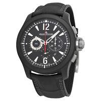 Jaeger Lecoultre Master Compresser Black Dial Alligator Mens Watch Q204C470
