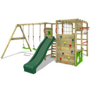 Wooden climbing frame FATMOOSE ActionArena - Swing set with green slide