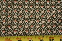 By 1/2 Yd, Vintage, Pink & Cream Calico on Brown Quilt Cotton, P504