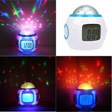 LED 7 Color Changing Music Star Sky Projection Alarm Clock Calendar Night Light