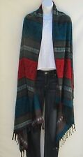 Yak Wool Shawl/Throw-Handloomed in Nepal-Reversible-Turquoise/Red/Gold/White