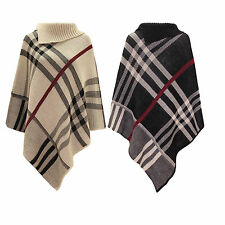 Ladies warm High neck Tartan Poncho women Knitted Wrap Cape Shawl UK size 8-14