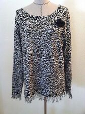 Monroe Main 1X woman plus shirt top animal print cheetah fringe round neck size