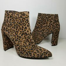 Stuart Weitzman women ankle boots Pure Pointy Toe Camel Cheetah Suede Bootie 7 M