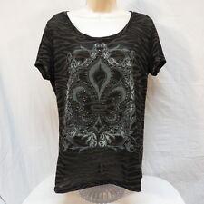 Wrangler Sheer  Lis De Fleur Black and Brown Animal Print Shirt Size M