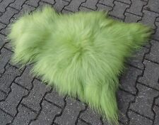 REAL PREMIUM ICELAND SHEEPSKIN LAMBSWOOL FUR TOP BRIGHT GREEN 100-110cm