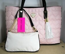 Betsey Johnson 2 In 1 Blush Pink Tote Purse Quilted Hearts Faux Leather Handbag