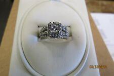 LADIES 14K WHITE GOLD DIAMOND RING .37CT PRINCESS & 74 SMALL DIAMONDS SIZE 6