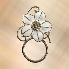 NEW White Crystal Flower Eye Eyewear Glasses Spectacle Hanger Brooch Pin Holder