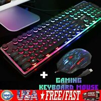 RGB LED Wired Gaming Gamer Keyboard 5500DPI 7Color Mouse Set Combo PC Laptop USB