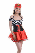 NEW WOMENS LADIES SEXY DELUXE PIRATE COSTUME HEN DOO FANCY DRESS PARTY OUTFIT