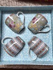 PIP STUDIO HOME Floral Collection Gift Box 4 pc Khaki Small 5oz Coffee TEA MUGS