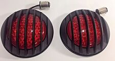 Pair (2) Flush Fit LED Tail Lights W/ Black Grills Universal for Hot Rods