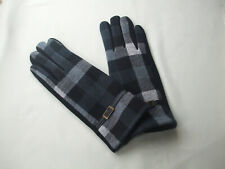 Ladies Checked Fleece Lined Winter Gloves With Leather Strap Grey Tones New