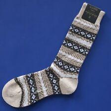 NWT Brooks Brothers Fair Isle Beige & Brown Cashmere Dress Socks -- FINAL SALE