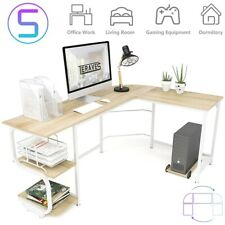 L Shaped Desk With Shelves Computer Desk Gaming Table Home Office Workstation Us