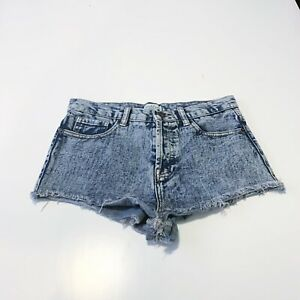 Jean Shorts Blue Denim High Rise Waist  XXI Denim Frayed Bottoms Washed Size 27