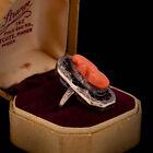 Antique Vintage Nouveau 14k Gold Etruscan Carved Salmon Coral Cameo Ring Sz 4.5