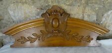 "22""  Antique French Hand Carved Wood Solid Oak Pediment -"