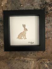 More details for little hare, framed original watercolour painting, signed, vintage, cottage