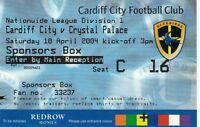 Ticket - Cardiff City v Crystal Palace 10.04.04