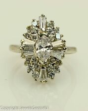 1.50 ct Marquise Baguette Round Diamond 14K White Gold Ballerina Cocktail Ring