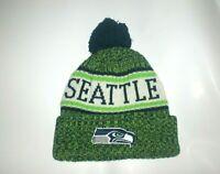 Seattle Seahawks Winter Pom Beanie Head wear Hat Cuffed SEA New Great Look
