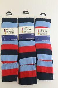 3 pairs of Help for Heroes Rugby Socks Full Colour Hoop Size Medium 4-7