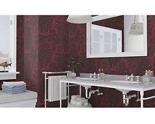 Rasch Floral Dark Red Roses Blossoms Feature Vinyl Modern Motif Wallpaper 525625