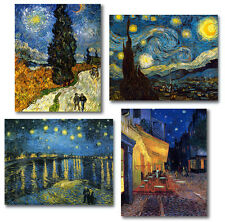 Van Gogh 4 Stretched Canvas Repros Starry Night Cafe Terrace Cypress Starry Sky