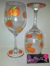 2 Hand-Painted Baby Harvest Pumpkins with vines Wine Glasses
