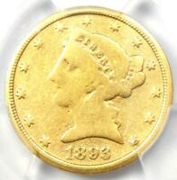 1893-CC Liberty Gold Half Eagle $5 Coin - PCGS Good Details - Rare Carson City!