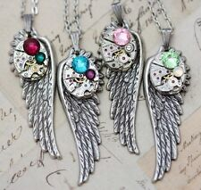 Mothers Necklace Mom Jewelry Personalized Gift Unique Birthstone Wing Silver