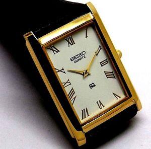 seiko  quartz super slim men's gold plated white dial japan made watch run order