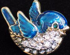 """GOLD CLEAR RHINESTONE SPRING FLYING BLUE BIRD PIN BROOCH JEWELRY 1"""" PRECIOUS"""
