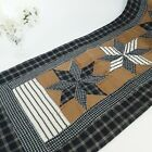 Americana Patchwork Quilted Table Runner Lemoyne Star Blue Brown Plaid 54