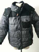 BOYS NEXT GREY & BLACK HOODED WARM WINTER COAT JACKET KIDS AGE 4 YEARS