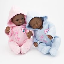 "10""African American Reborn Dolls Twins 100% Silicone Realistic Baby Doll Xmas"