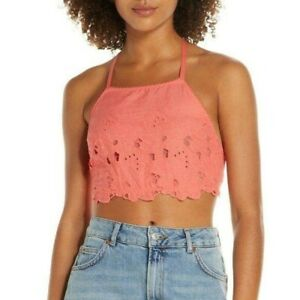 FREE PEOPLE NWT SAMPLE Kiss Kiss Coral June High Neck Crochet Bralette Size XS