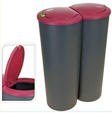 Double Rubbish Bin Recycling Separation Waste 50L Dustbin Kitchen Garden Plastic