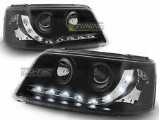 Scheinwerfer LED Tagfahrlicht Optik für VW T5 2003-2009 Daylight Schwarz DE LPVW