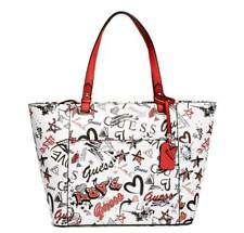 NEW Guess Logo Heart Start Love Printed Large Shopper Travel Tote Bag Handbag