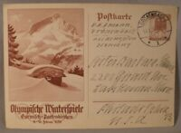 1936 Winter Olympics Official Postcard
