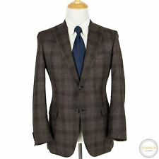 NWOT Brioni Ravello Brown Blue Wool Cashmere Plaid Static Top Stitch Jacket 40R