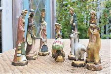 "NATIVITY Scene - Vintage Ceramic 8"" Tall Figures JESUS Mary 3 WISE Men"