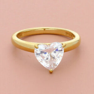 victoria wieck sterling silver gold plate cz heart engagement ring size 8