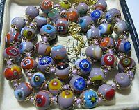 "Purple Millefiori Venetian Murano Glass Bead 18 - 19.75"" Vintage Style NECKLACE"
