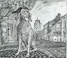 Dog in Vyborg,  Town Architecture, Ex libris Etching by Leonid Stroganov, Russia